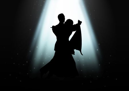 tango: Silhouette illustration of a couple dancing under the light