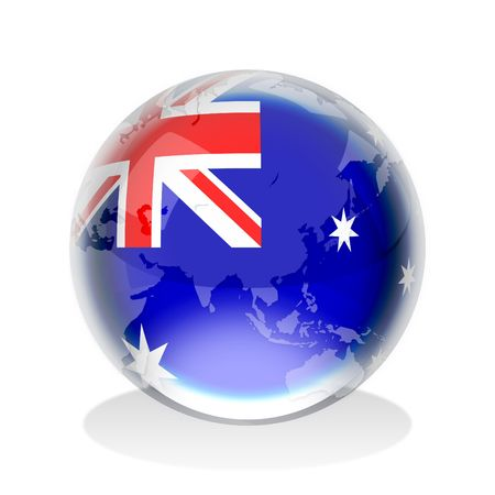 Crystal sphere of Australian flag with world map  photo