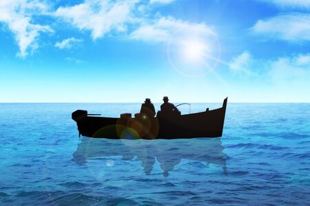 Stock image of two men fishing on the sea photo