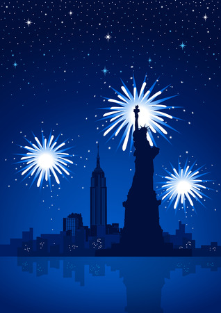 Fireworks on New York City Stock Vector - 7931246