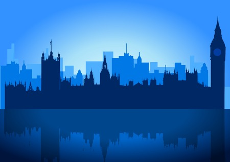 big ben tower: An illustration of London city skyline