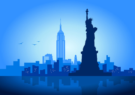 Een vector illustratie van New York City skyline  Stock Illustratie