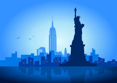 Una ilustración vectorial del horizonte de la ciudad de Nueva York