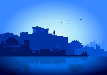 Una ilustración de horizonte de Atenas en color azul