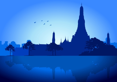 wat arun: A silhouette illustration of Wat Arun Temple in Bangkok