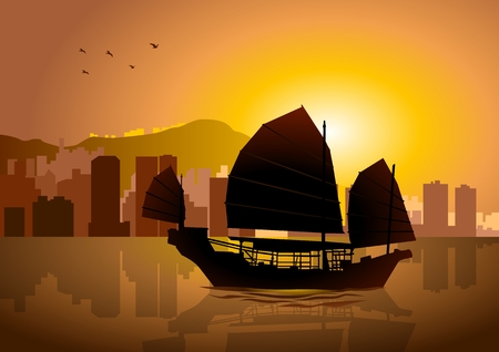 hong kong skyline: Silhouette illustration of Junk boat in Hong Kong Illustration