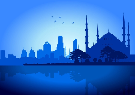 An illustration of Istanbul skyline Vector