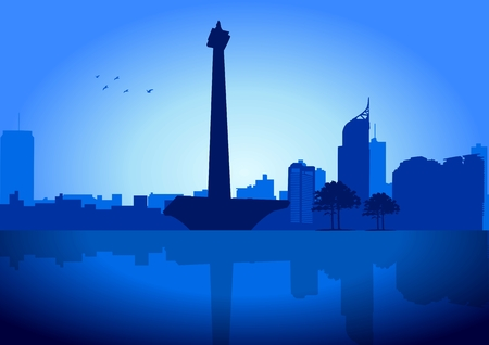 An illustration of Jakarta skyline with its National Monument Vector