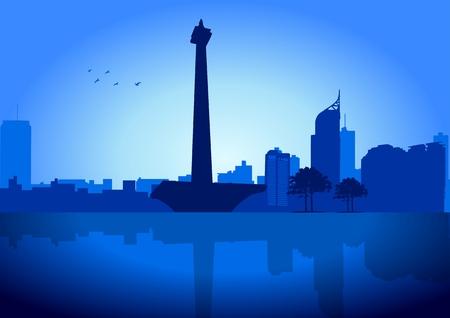 indonesien: Eine Illustration von Jakarta Skyline mit es ist National Monument