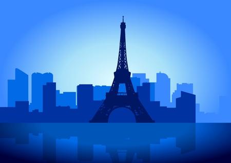built tower: Ilustraci�n de existencias de la torre de Eiffel en Paris - Francia
