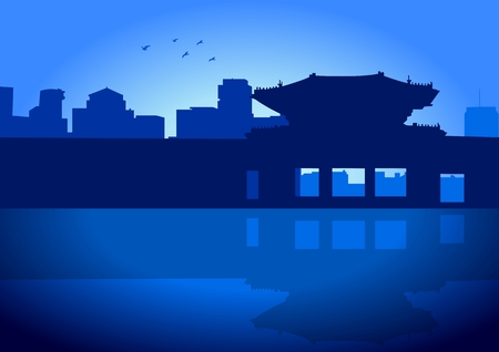 Stock illustration of Seoul Skyline with the Royal Palace Vector
