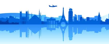 Ilustración stock de edificios famosos en Europa
