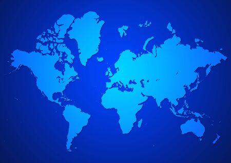 Illustration of world map in blue color illustration
