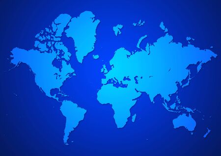 multinational: Illustration of world map in blue color Stock Photo