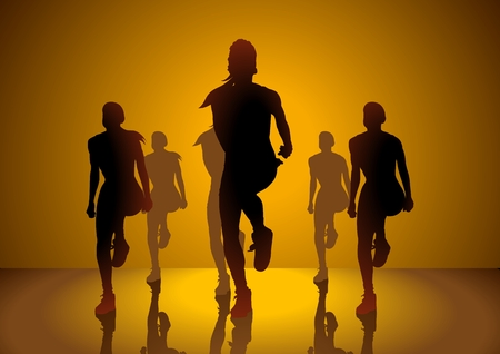 aerobic training: Silhouette illustration of women doing aerobic