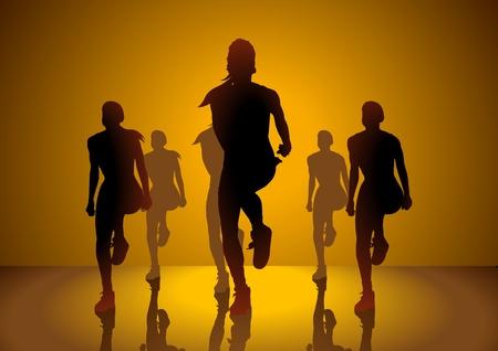 aerobica: Silhouette illustrazione delle donne facendo aerobica