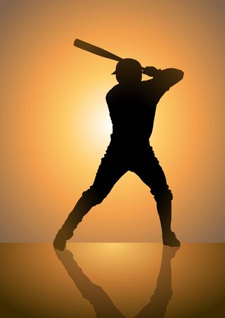 야구: Silhoutte illustration of a pinch hitter in baseball game
