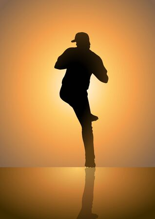 Silhoutte illustration of a pitcher in baseball game Vector