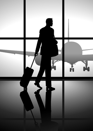 people traveling: Sotck illustration of a businessman carrying a luggage Illustration