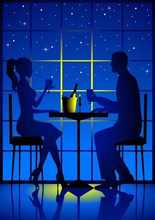 dinning table: A couple having candle light dinner