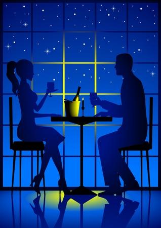 woman eat: Una pareja de tener cena ligera de vela  Vectores