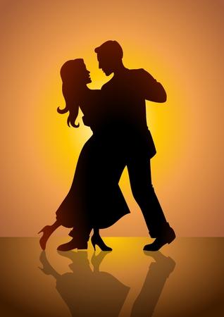 classic dance: Ilustraci�n de existencias de una pareja de baile  Vectores