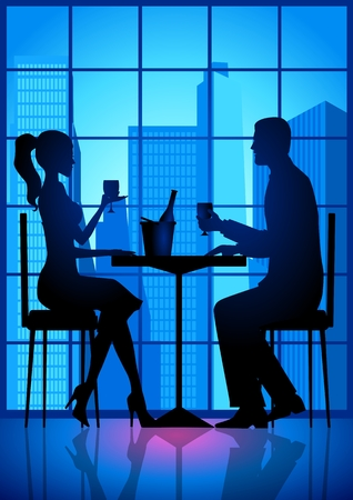 woman eat: Ilustraci�n de existencias de una pareja tener una fecha