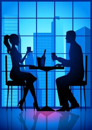 dinner date: Stock illustrazione di un paio di avere una data   Vettoriali
