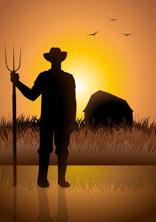agricultor: Ilustraci�n de existencias de un agricultor y su granero