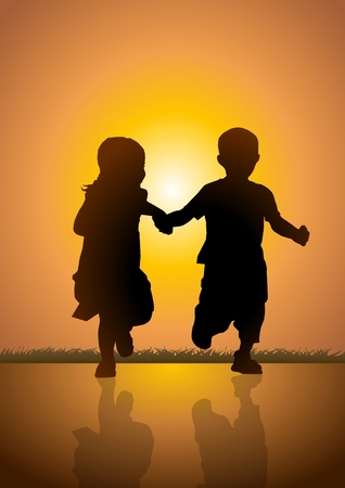 Sotck illustration of two kids running happily Vector