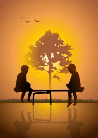 tilting: Stock illustration of two kids playing teeter totter Illustration