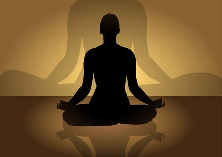 yoga meditation: Illustrazione della silhouette di una donna facendo meditazione