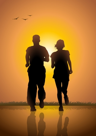 Silhouette illustration of a couple jogging at sunrise Vector