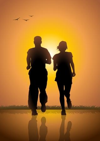 joggers: Silhouette illustration of a couple jogging at sunrise Illustration