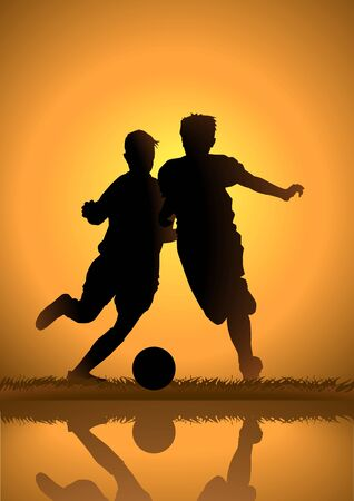 Silhouette illustration of kids playing soccer Vector