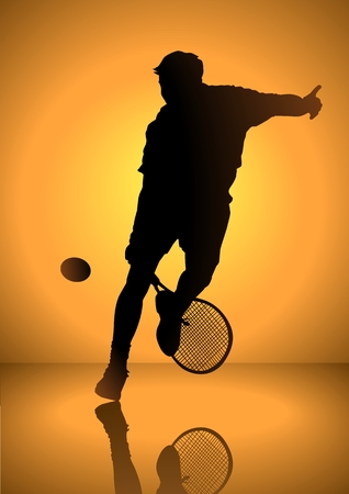 tennis player: Silhouette illustration of a man playing tennis