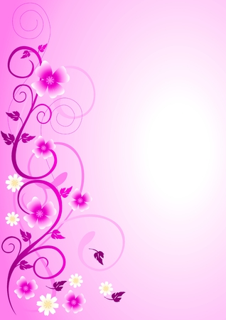 purple abstract: Illustration of pink flowers and curly shape ornaments Illustration