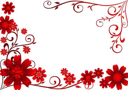 Ornement de fleurs rouges Vecteurs