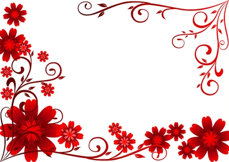 red swirl: Red flowers ornament