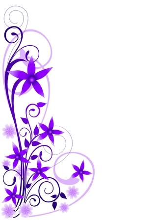 Violet flowers ornament Illustration