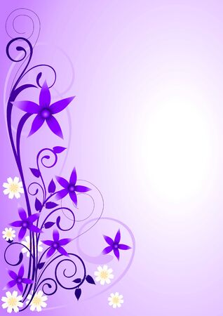 Illustration of violet flowers and curly shape ornaments Vector
