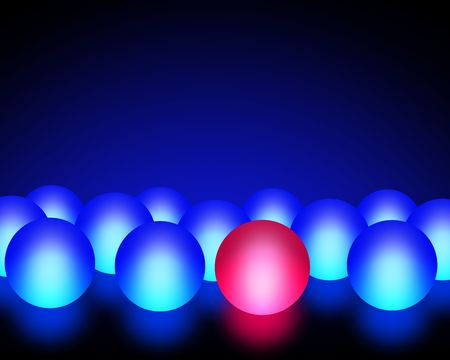 rebellion: Illustration of a red ball among blue balls