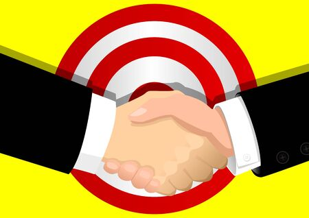 handclasp: Men shaking hand with a target symbol as the background Illustration