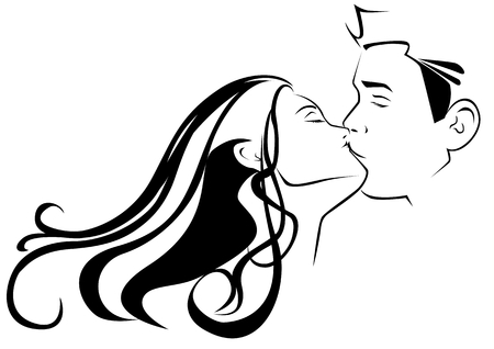 illustration of a couple kissing Vector