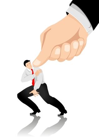 empresario triste: Una imagen metaf�rica de un hombre, siendo bajo presi�n  Vectores