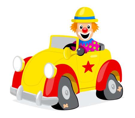 payaso: Un payaso y su coche Vectores