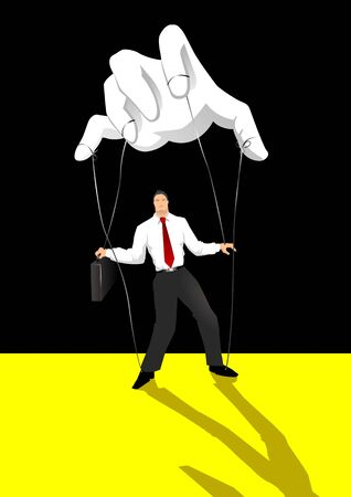 marioneta: Ilustraci�n de Stok de una mano controlar una persona Vectores