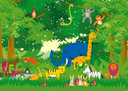 illustration zoo: Giungla in Cartoon