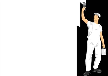 modification: Vector illustration of a man painting the wall