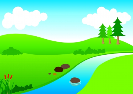 Vista del río Ilustración de vector